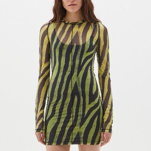 Ksubi zebra mesh long sleeve dress